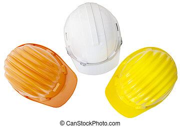 aanzicht, bouwsector, achtergrond, vrijstaand, witte , safetyt, helm, bovenzijde, veelkleurig