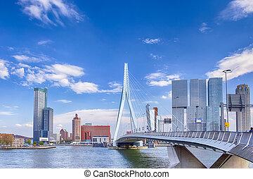 aanzicht, erasmusbrug, (swan, rotterdam, aantrekkelijk, vermaard, voorkant, harbour., porto, brug)