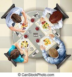 aanzicht, eten, bovenzijde, illustratie, karakters