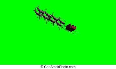 aanzichten, scherm, santa claus, anders, 4, reindeers, geanimeerd, -, groene