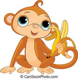aap, gekke , banaan