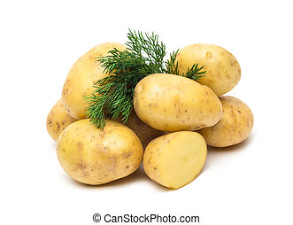 aardappel, op, vrijstaand, achtergrond, afsluiten, witte