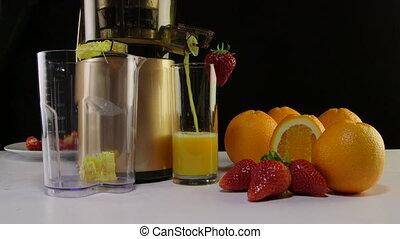 aardbei, juicer, sap, fruit, vers oranje, gebruik, masticating, vervaardiging