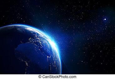 aarde, blauwe , -, horizon, het glanzen