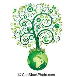 aarde, boompje, groene