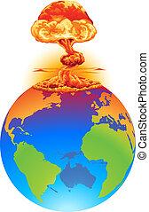 aarde, concept, ontploffing, ramp