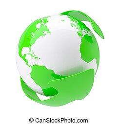 aarde, groene, ongeveer, richtingwijzer