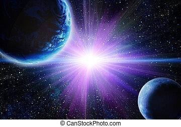 aarde, maan, ruimte