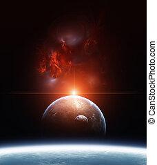 aarde, nebula, planeet, achtergrond, rood