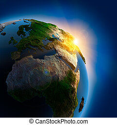 aarde, op, buitenst, zonopkomst, ruimte