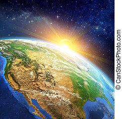 aarde, op, zonopkomst