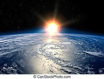 aarde, opkomende zon