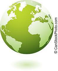 aarde, pictogram, groene, gel
