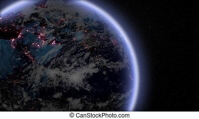 aarde, zoom, nacht