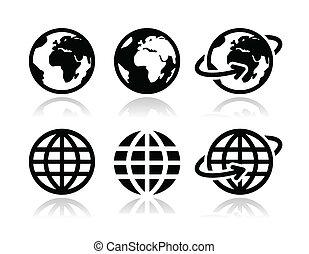aardebol, vector, set, iconen
