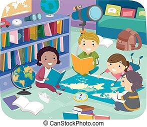 aardrijkskunde, stickman, kamer, geitjes, illustratie, lezende