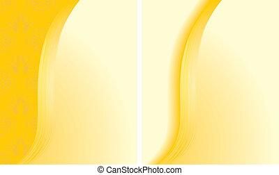 abstract, achtergronden, twee, gele