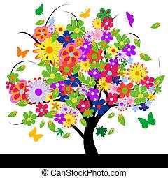 abstract, bloemen, boompje