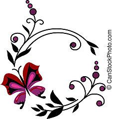 abstract, bloemen, vlinder, rood, -2