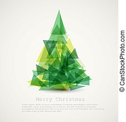 abstract, boompje, vector, groene, kerstmis kaart