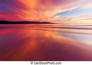 abstract, ondergaande zon , reflectie