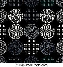 abstract, pattern., seamless, zeshoeken, retro, textured, geometrisch, layout., patterned