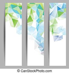 abstract, set, banieren, driehoeken