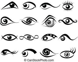 abstract, set, oog, symbool