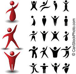 abstract, set, symbool, mensen