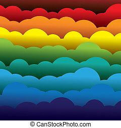 abstract, sinaasappel, kleuren, papier, (backdrop), lagen, bevat, -, gele, graphic., 3d, blauwe , kleurrijke, gevormde, illustratie, achtergrond, gebruik, rood, wolken, zoals, dit, vector, groene