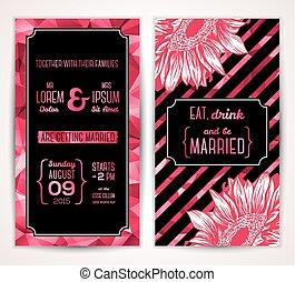abstract, trouwfeest, flowers., mal, uitnodigingskaarten