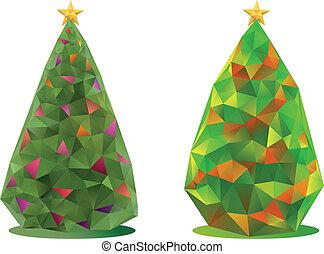abstract, vector, bomen, kerstmis