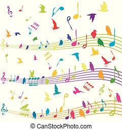 abstract, vliegen, aantekening, silhouettes, muziek, vogels