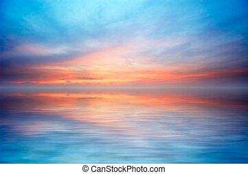 abstract, zonsondergang wereldzee