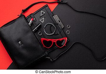 accessoires, dubbel, zak, leggen, achtergrond, aanzicht, black , plat, rood, open top