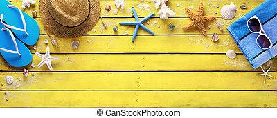 accessoires, houten, gele, strand