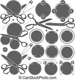 accessories., set, vector, naaiwerk, tekens & borden