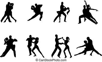 acht, silhouettes, dansend koppel