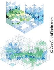 achtergrond, abstract, vector, kubiek