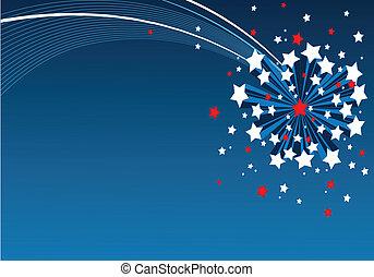 achtergrond, amerikaan, starburst