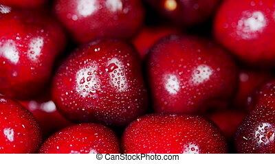 achtergrond., berry., rondgedraaide, kers, organisch, seizoenen, rood