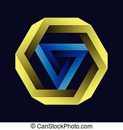 achtergrond., black , figuren, penrose, tribar, of, helling, onmogelijk, zeshoek, tribar, voorwerpen, driehoek