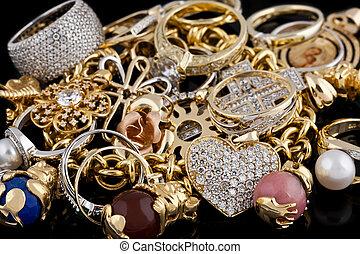 achtergrond, black , juwelen, goud