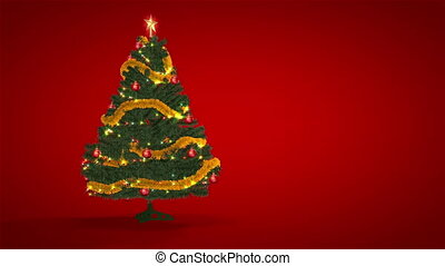 achtergrond, boompje, kerstmis, rood