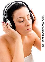 achtergrond, bovenzijde, muziek, vrouwlijk, witte , het genieten van, aanzicht