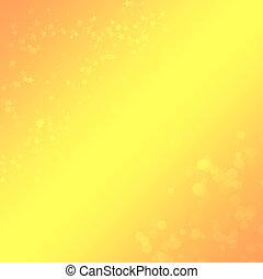achtergrond, geel-oranje, ontwerp, bokeh, sterretjes