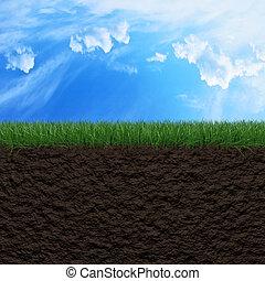 achtergrond, gras, terrein, hemel