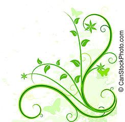 achtergrond., groene, floral