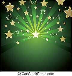 achtergrond, groene, goud, sterretjes