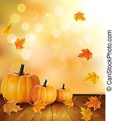 achtergrond, houten, leaves., herfst, achtergrond., pompoennen, vector.